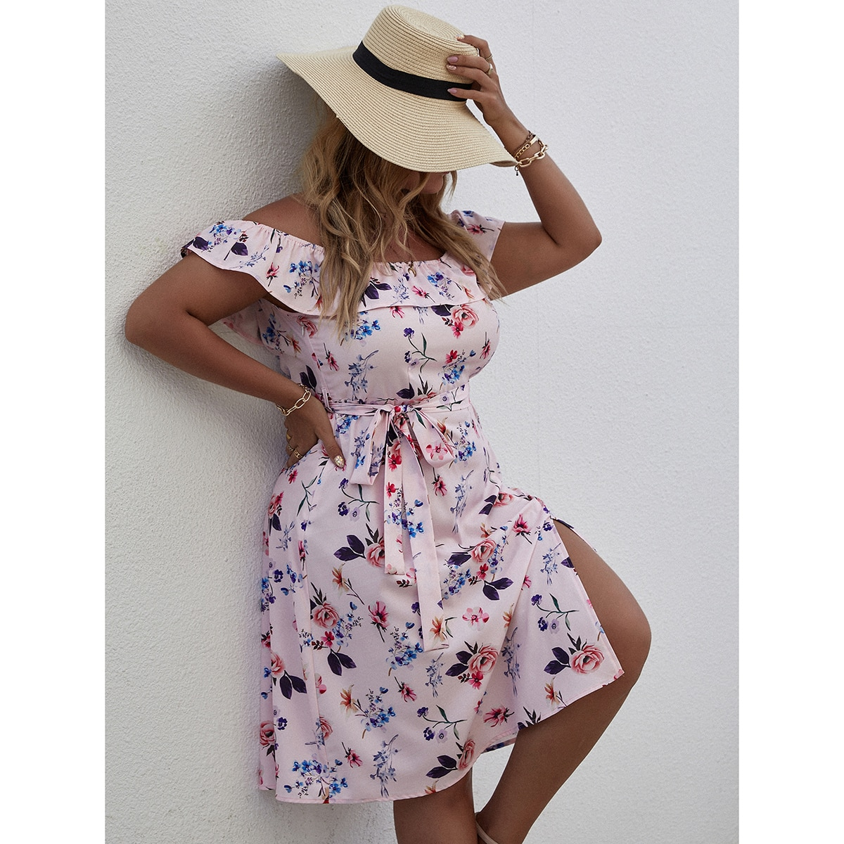 Plus Floral Print Split Thigh Belted Dress, SHEIN  - buy with discount