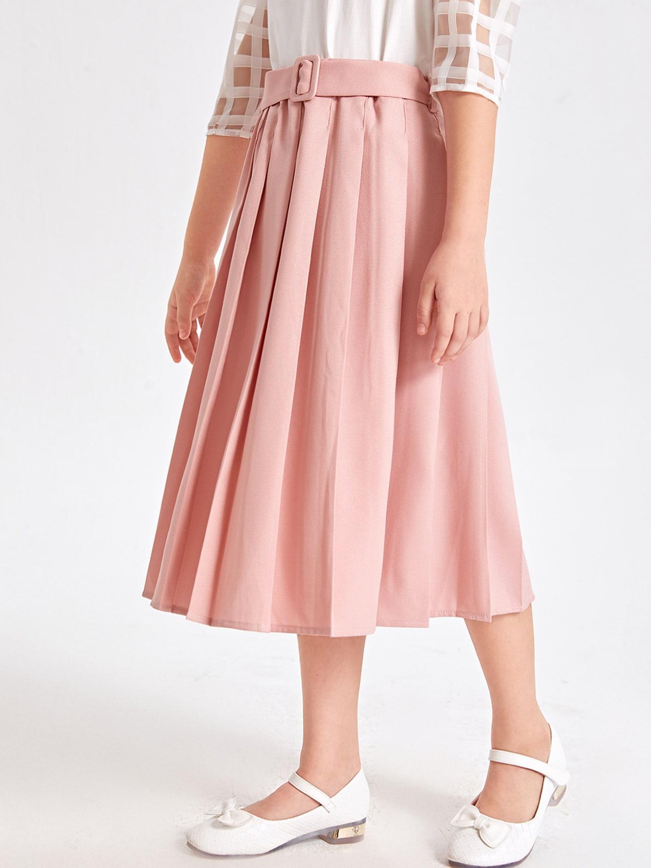 Girls Belted Pleated Hem Skirt