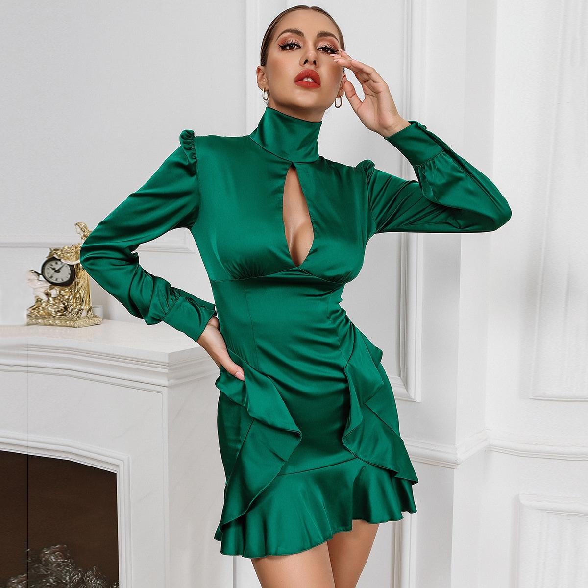 Атласное платье с оборками SheIn swdress31210526211