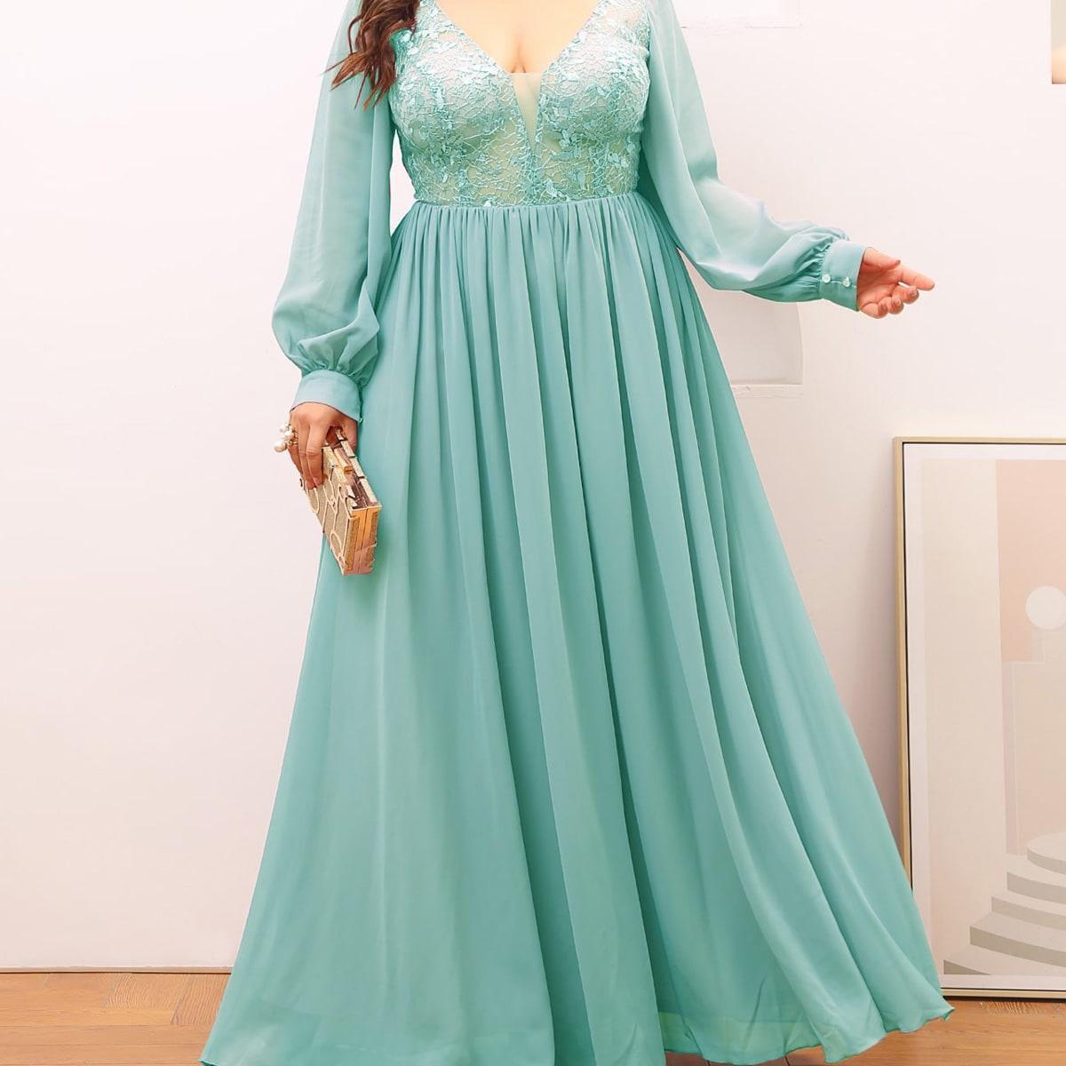 Платье для выпускного с кружевом и открытой спиной размера плюс от SHEIN