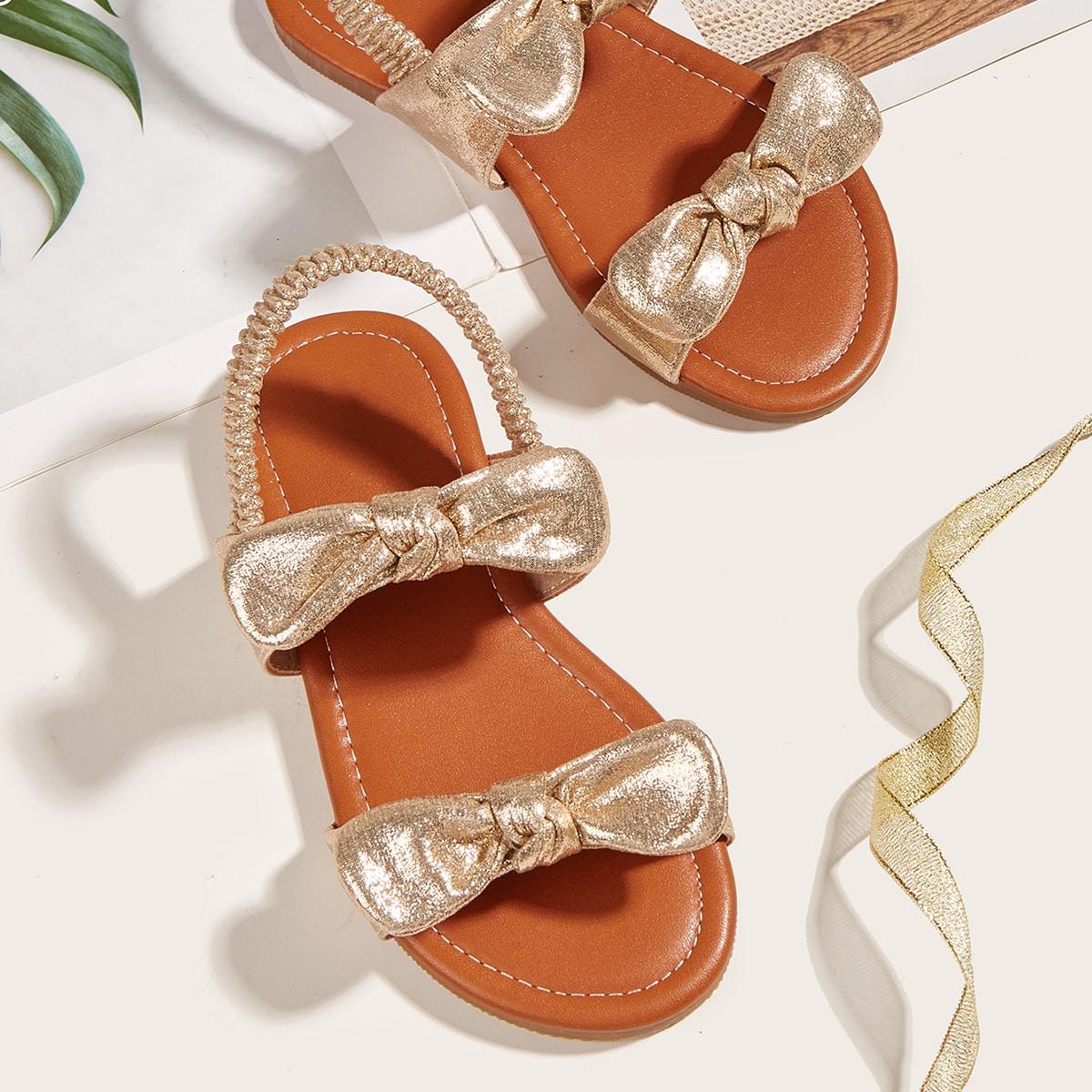 Металлические сандалии для девочек с бантом SheIn skshoes25210526962