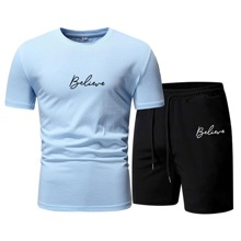 Guys Letter Graphic Tee With Shorts