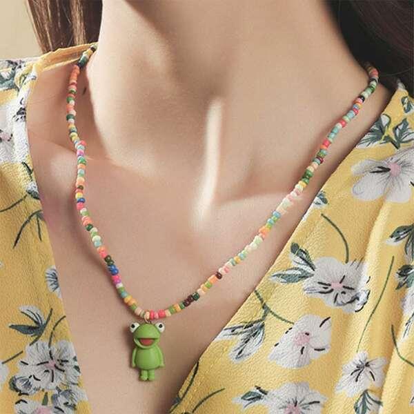 Cartoon Frog Charm Beaded Necklace, Multicolor