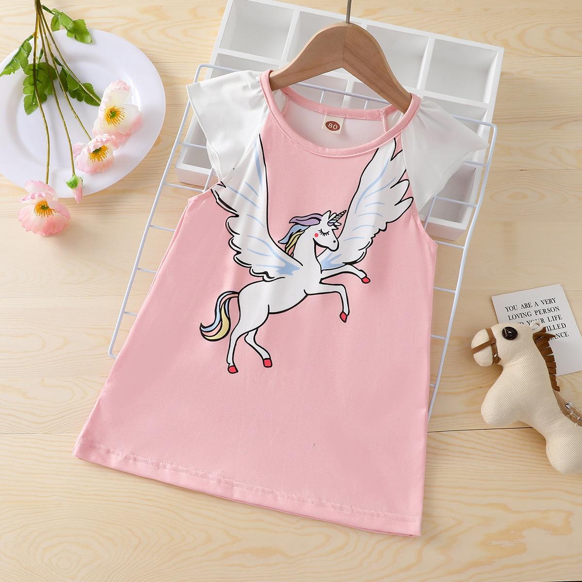 для девочек Платье-футболка с принтом единорога с рукавами крышки от SHEIN