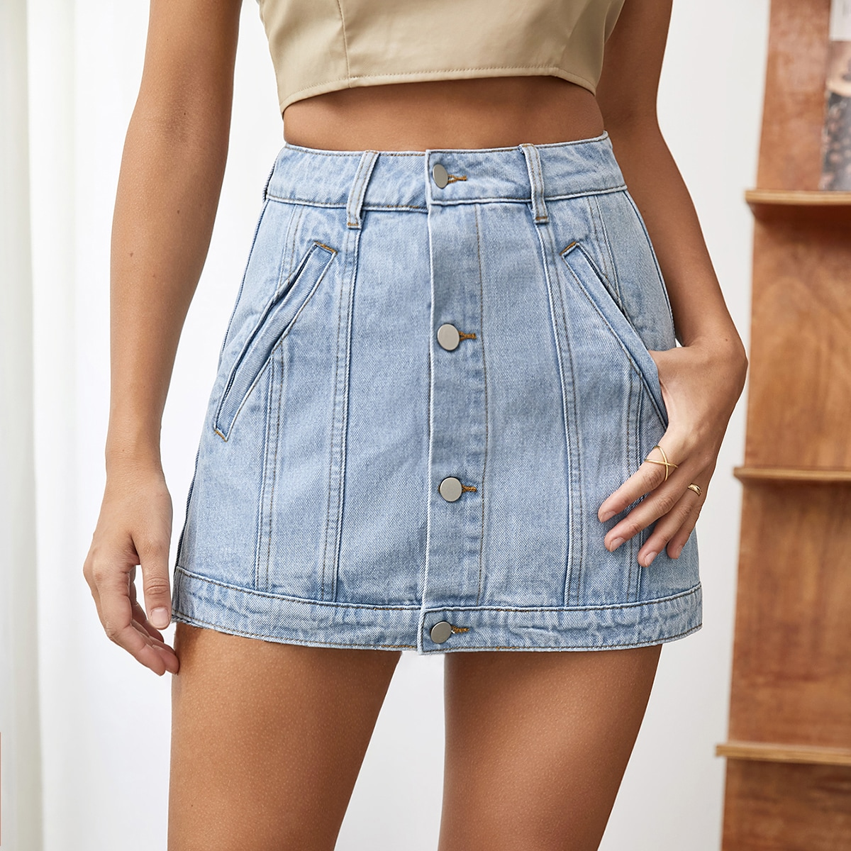 Джинсовая юбка на пуговицах SheIn swskirt04210118328