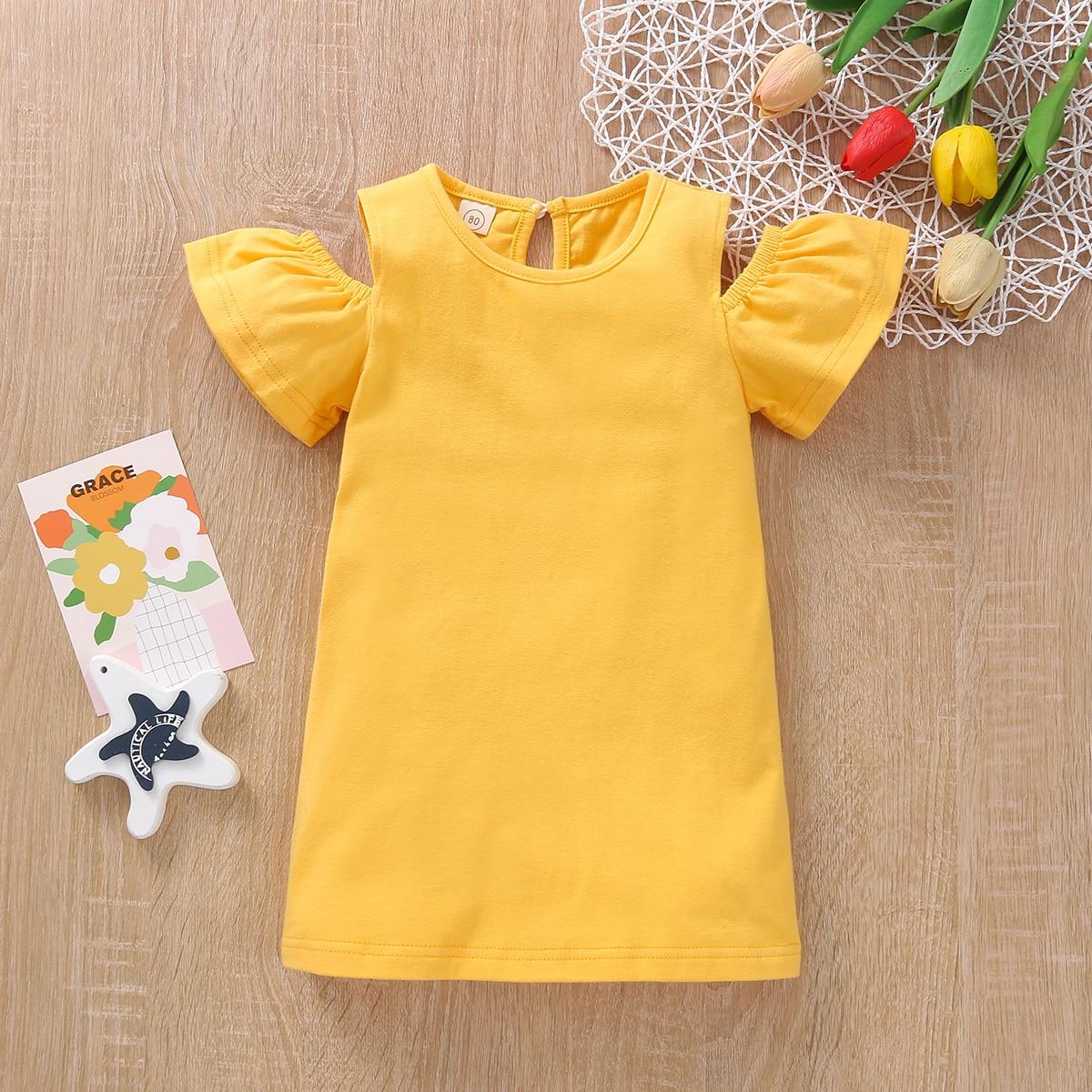 для девочек Платье-футболка открытыми плечами от SHEIN