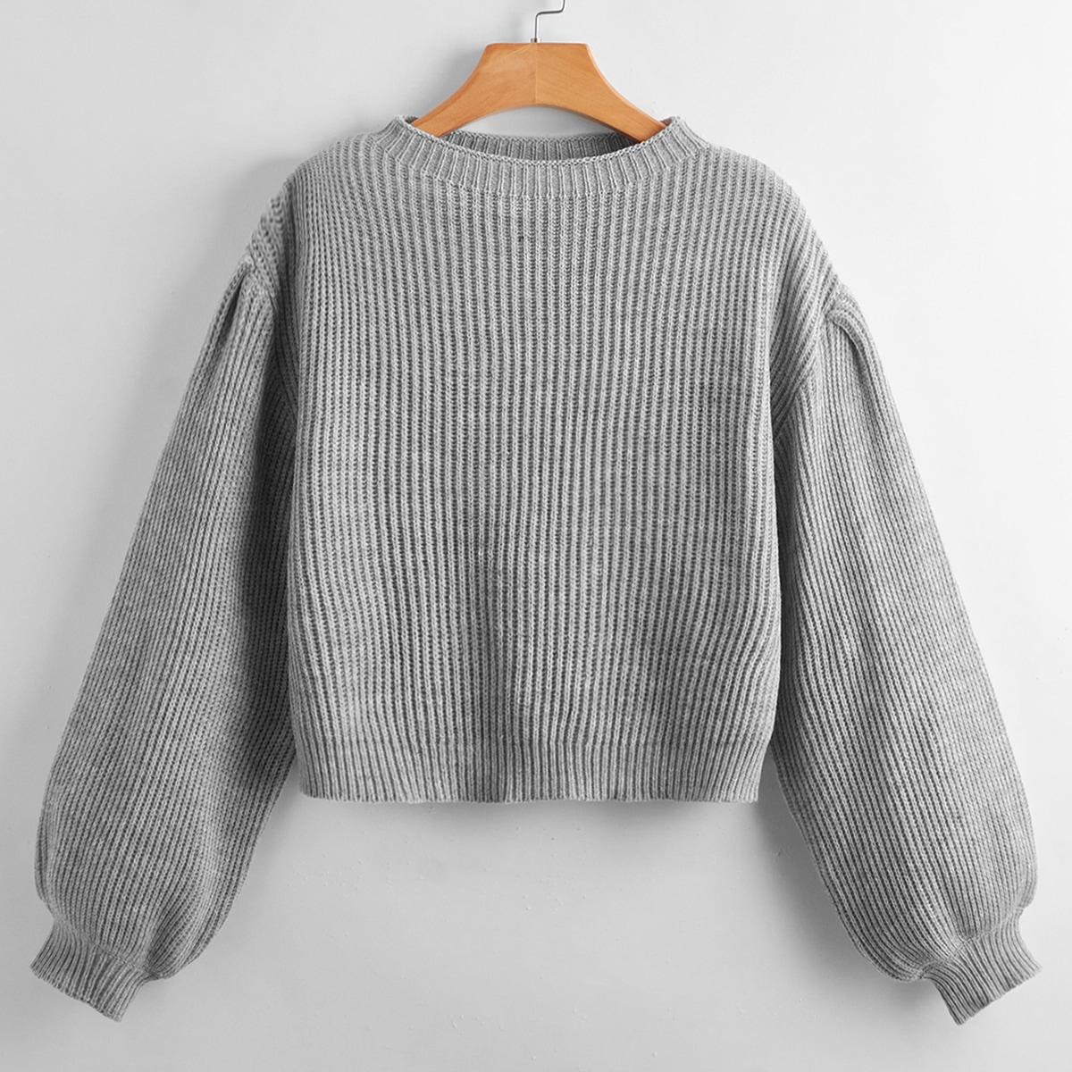 Suéter de manga farol caída unicolor