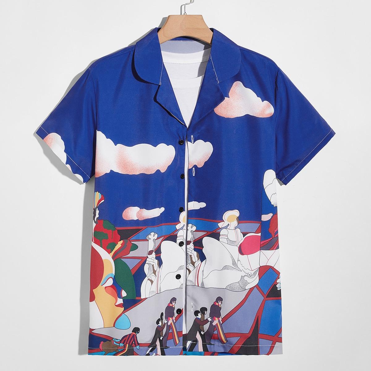 Мужская рубашка с графическим рисунком