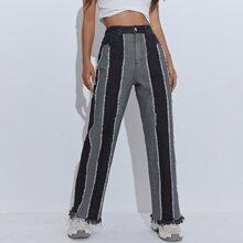 High Waist Two Tone Raw Hem Jeans