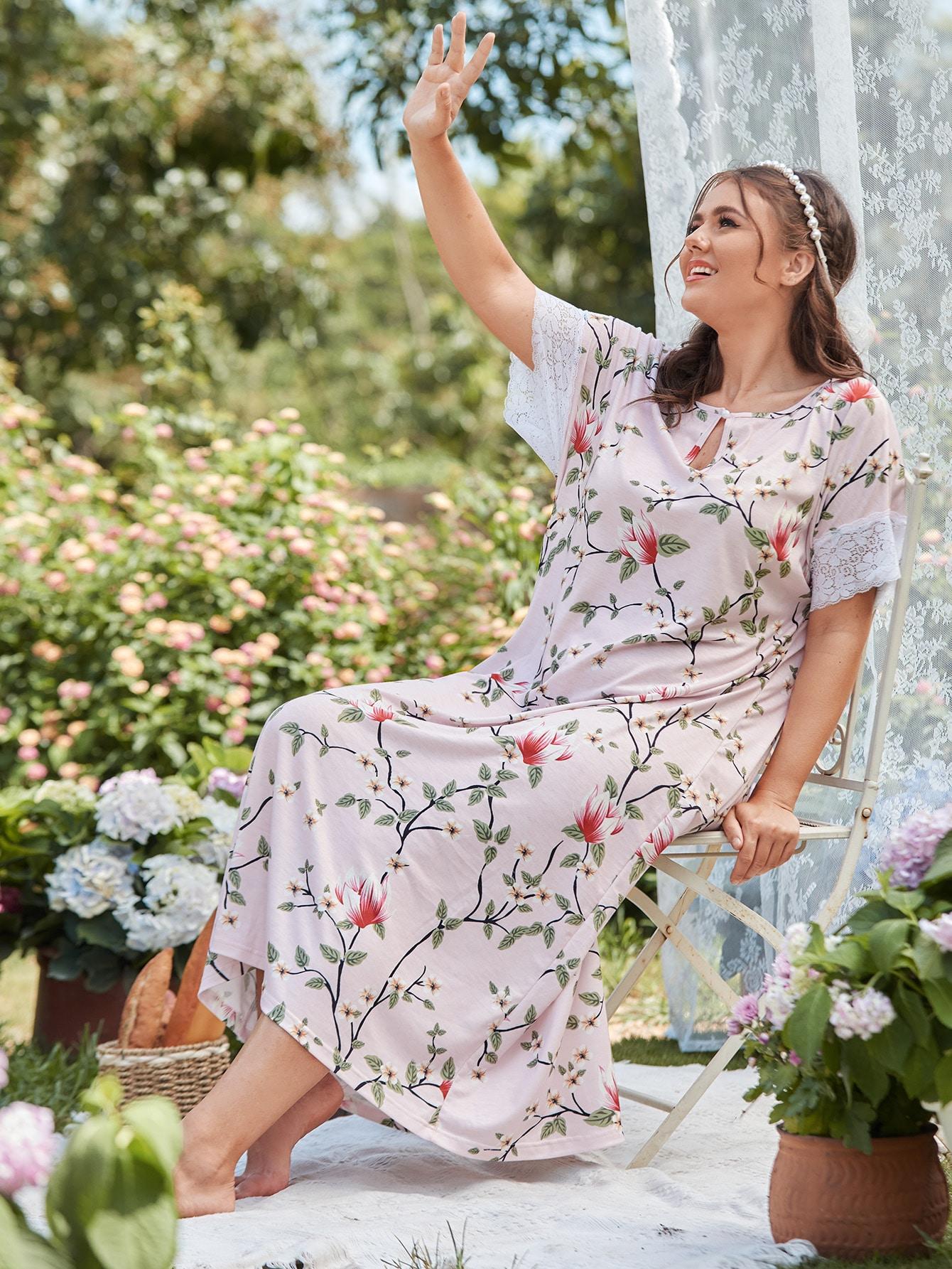 Plus Floral Print Lace Cuff Night Dress