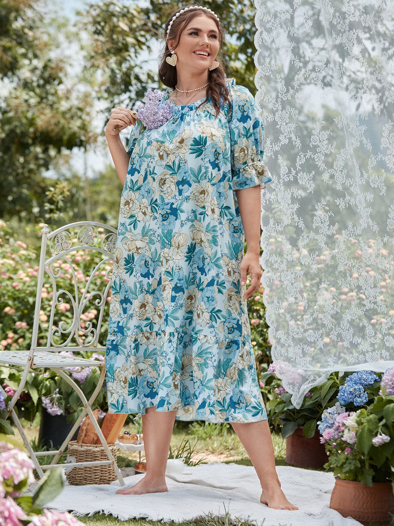 Plus Floral Print Flounce Sleeve Pajama Dress