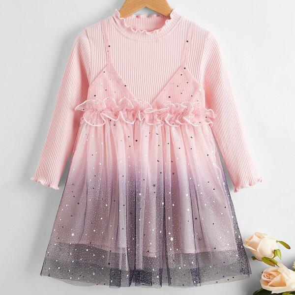 Toddler Girls Ruffle Trim Sequin Contrast Ombre Mesh Dress, Pink