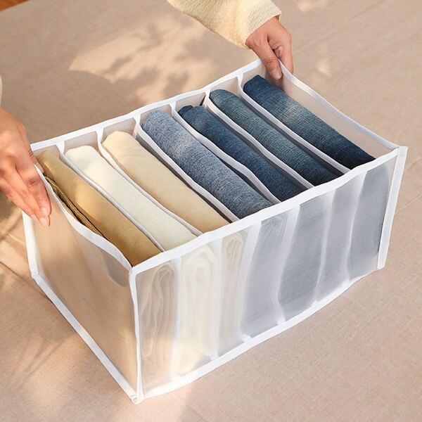 1pc 7 Grid Pants Storage Box, White