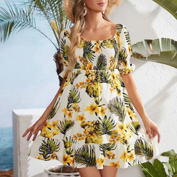 Maternity Tropical Print Flounce Sleeve Shirred Detail Dress, Multicolor