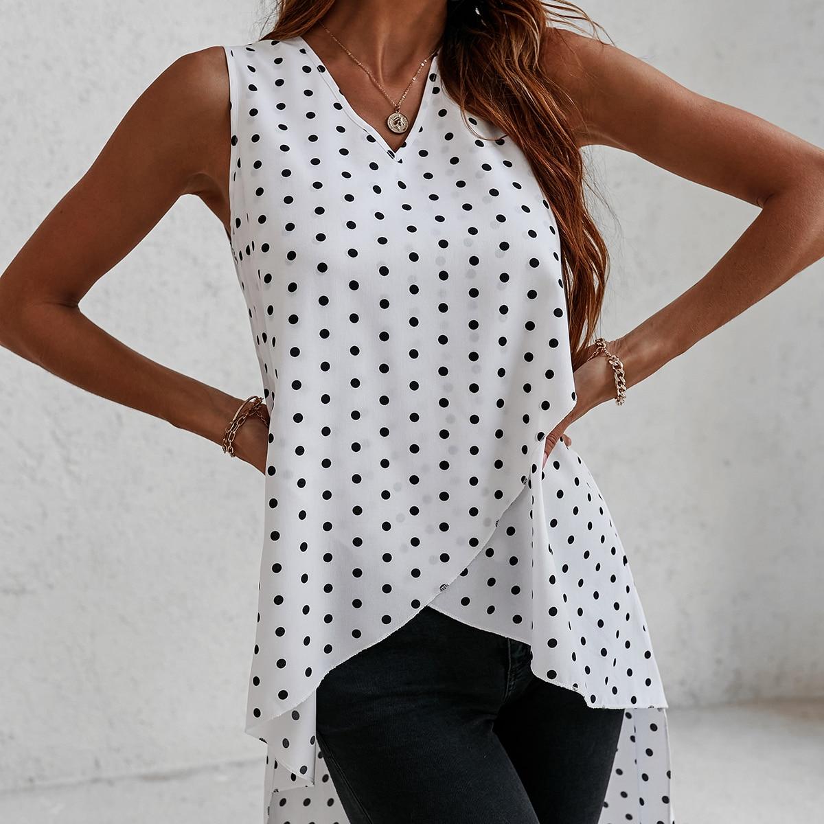 Блуза без рукавов в горошек асимметричный SheIn swblouse23210429774