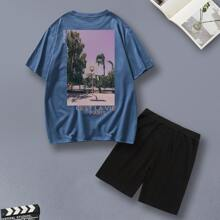 Guys Letter Graphic Tee With Track Shorts