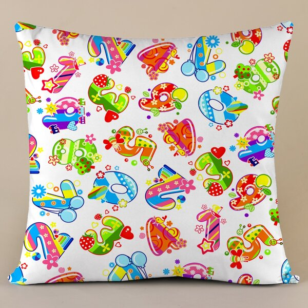 Number Print Cushion Cover Without Filler, Multicolor
