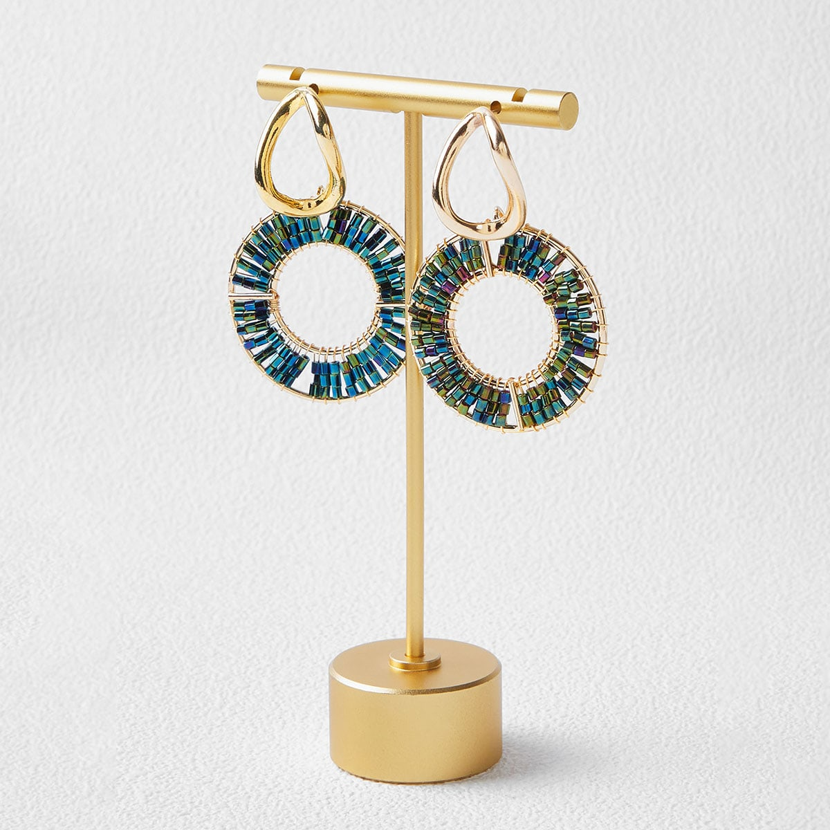 BEAD DETAIL ROUND DROP EARRINGS, SHEIN  - buy with discount