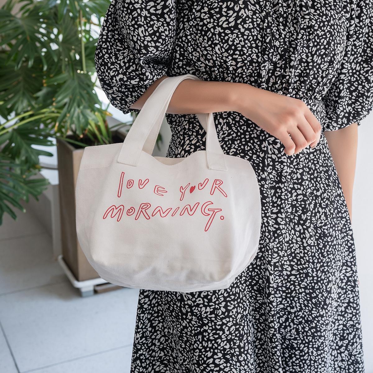 Slogan Graphic Canvas Satchel Bag, SHEIN  - buy with discount