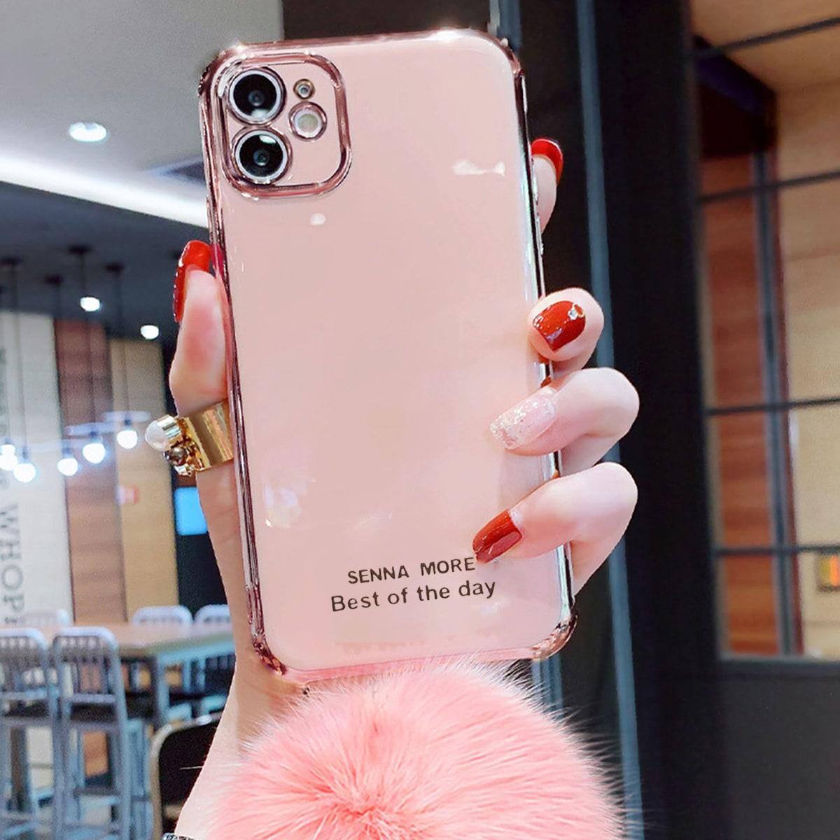 Coque de téléphone à pendentif boule en tissu duveteux