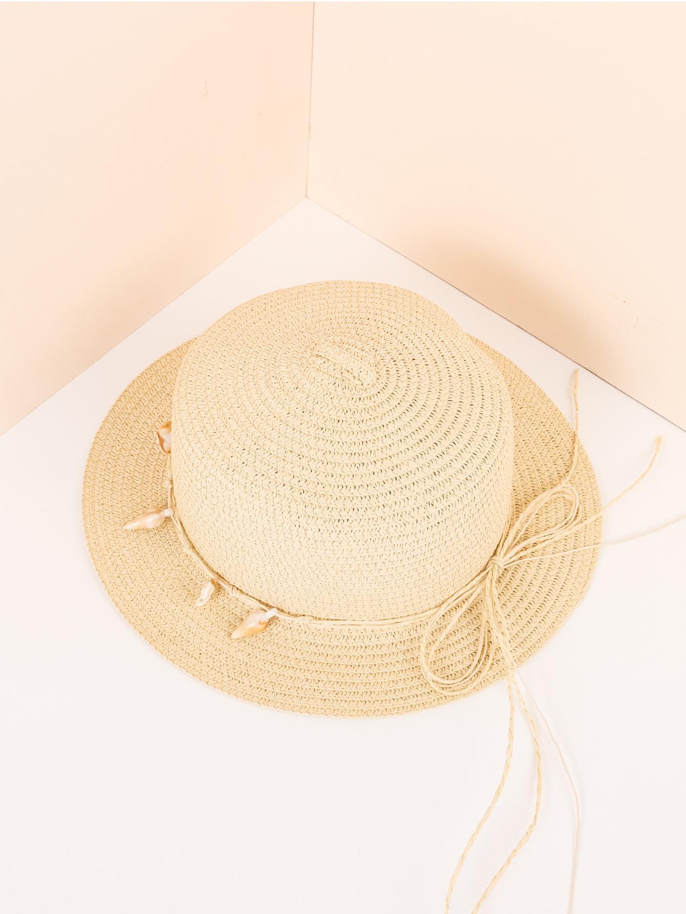 conch decor straw hat