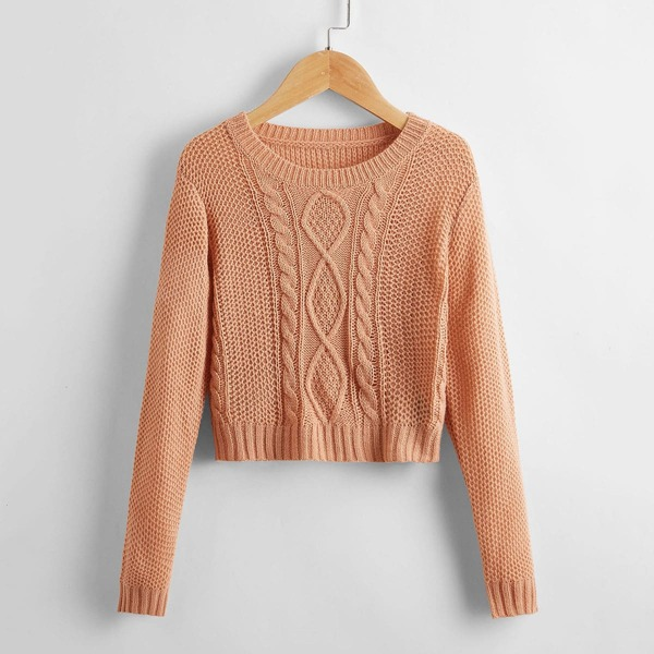 Girls Cable Knit Sweater, Dusty pink