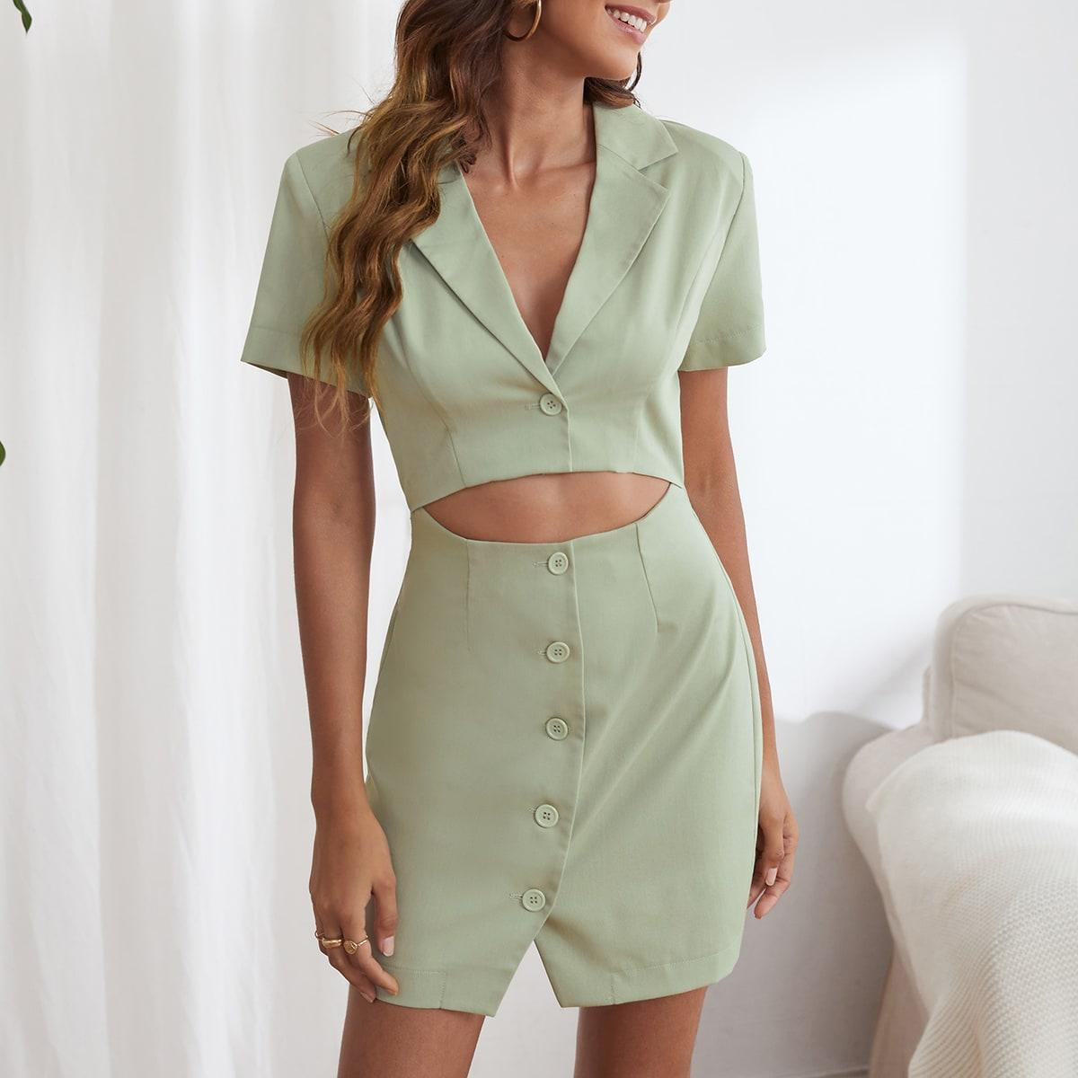 Платье с разрезом с воротником с разрезом SheIn swdress44210430598
