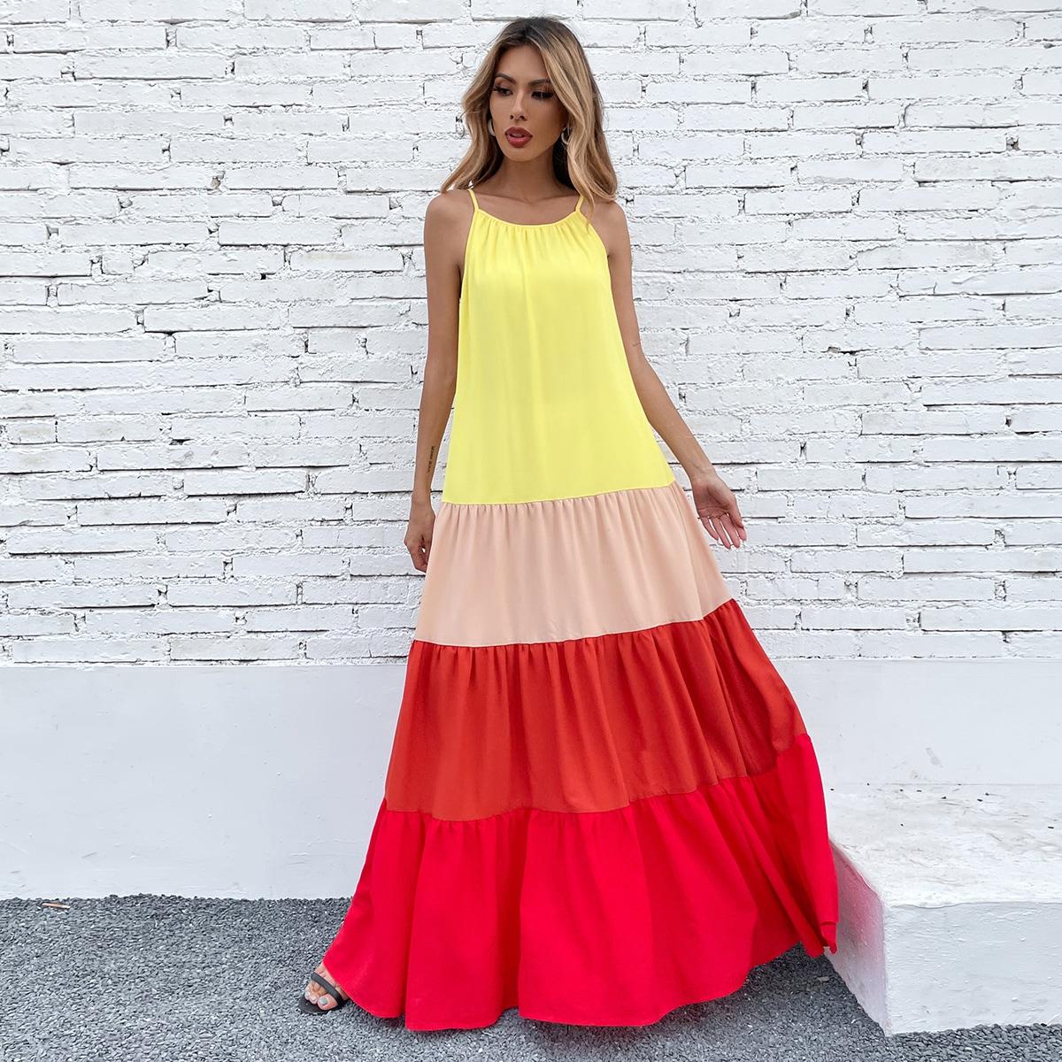 Платье на бретельках макси комбинированным принтом SheIn swdress23210420555