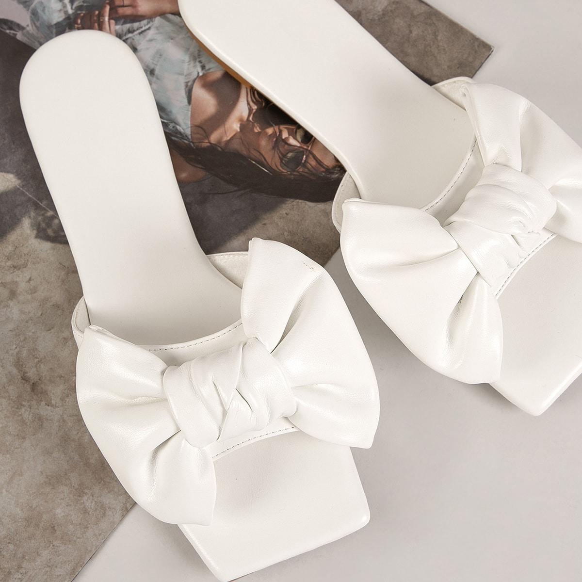 Шлепанцы с квадратным носком и бантом из искусственной кожи