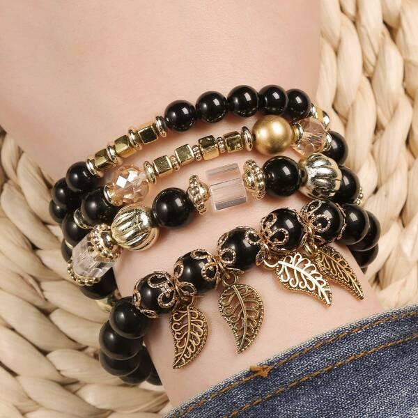4pcs Leaf Charm Beaded Bracelet, Black