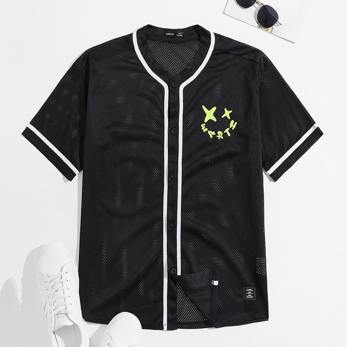 Мужской Рубашка с текстовым принтом сетчатый