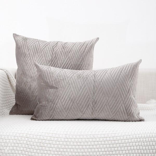 1pc Plain Lumbar Pillow Cover Without Filler, Grey