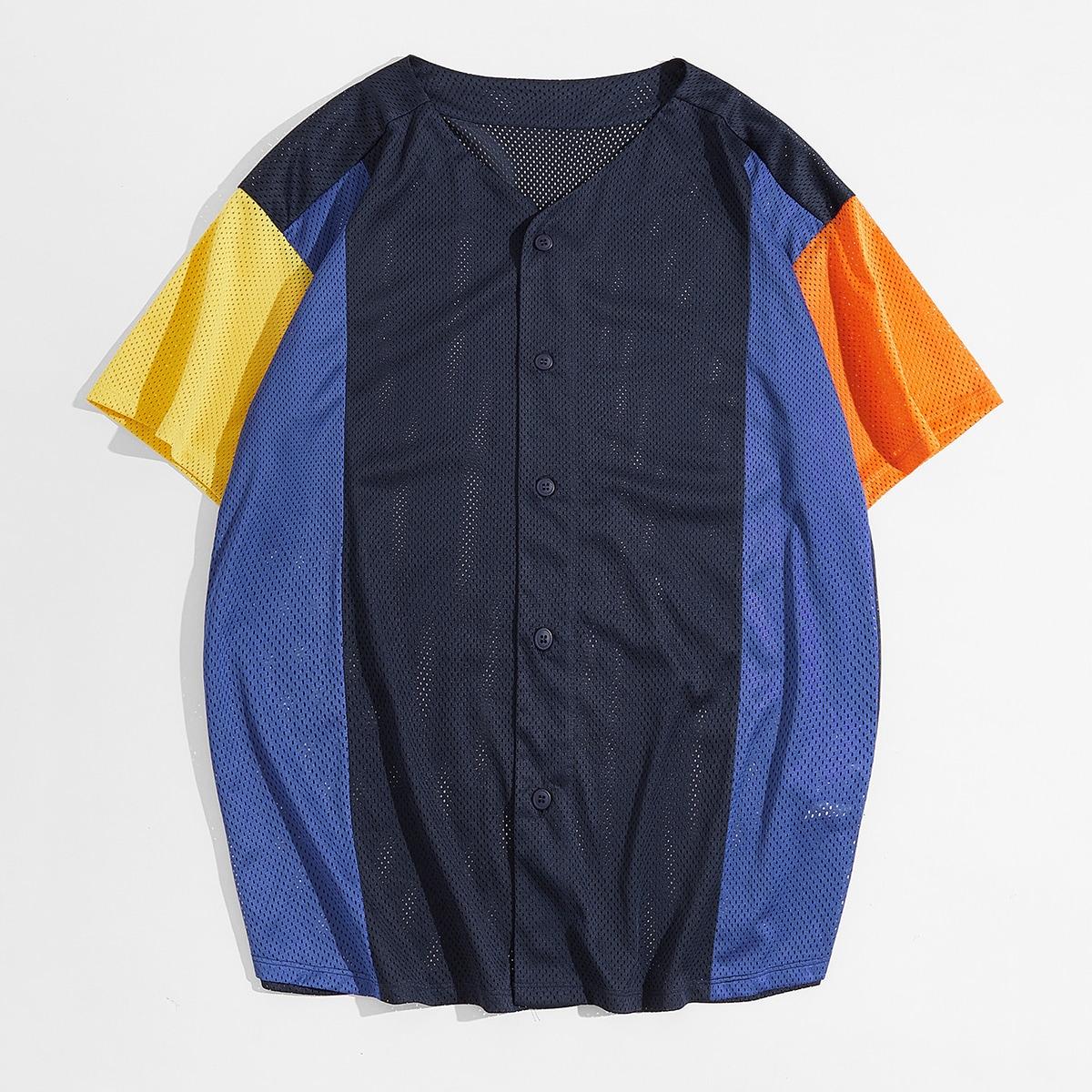 Мужской Рубашка Контрастный сетчатый