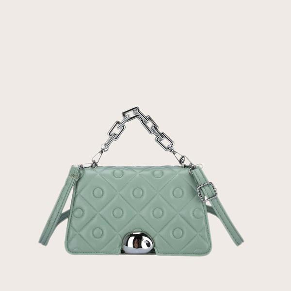Minimalist Textured Chain Satchel Bag, Green