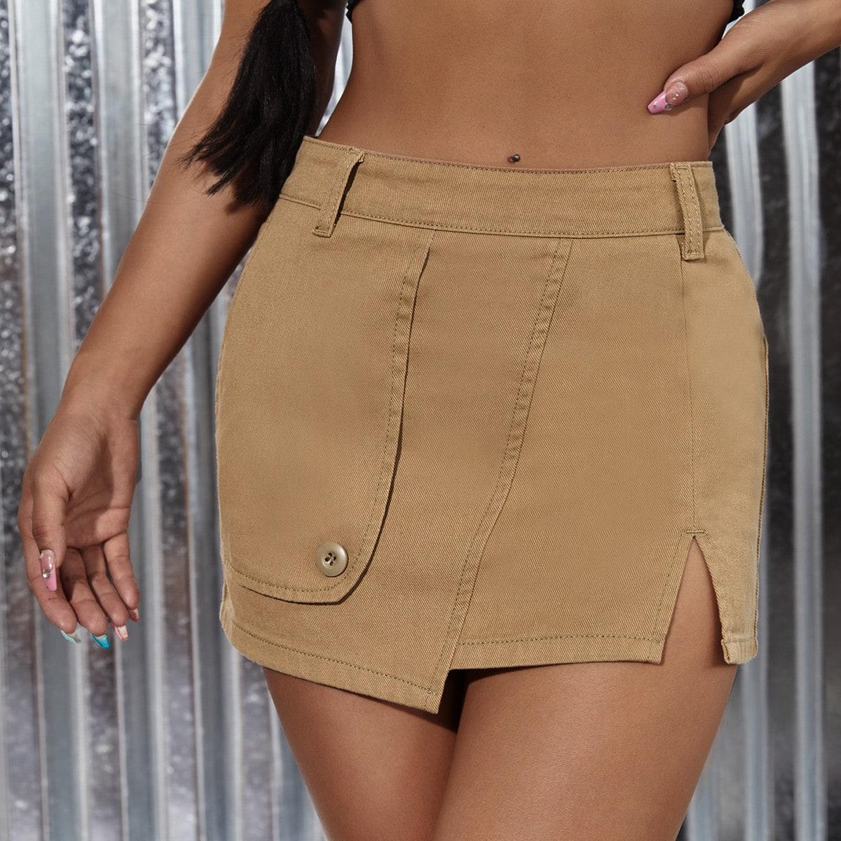 на молнии Одноцветный Джинсовые юбки SheIn swskirt25210423556