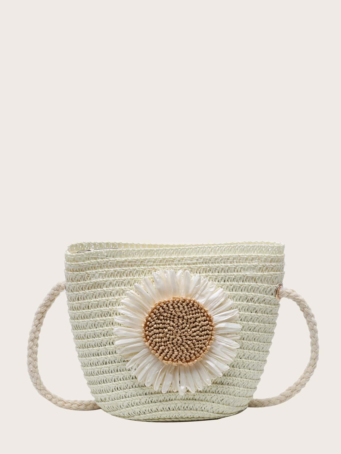 girls applique straw crossbody bag