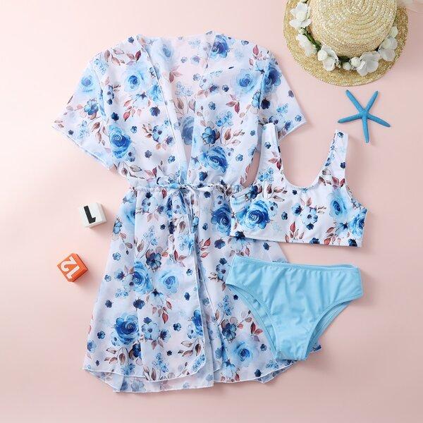 3pack Girls Floral Print Bikini Swimsuit & Kimono, Multicolor