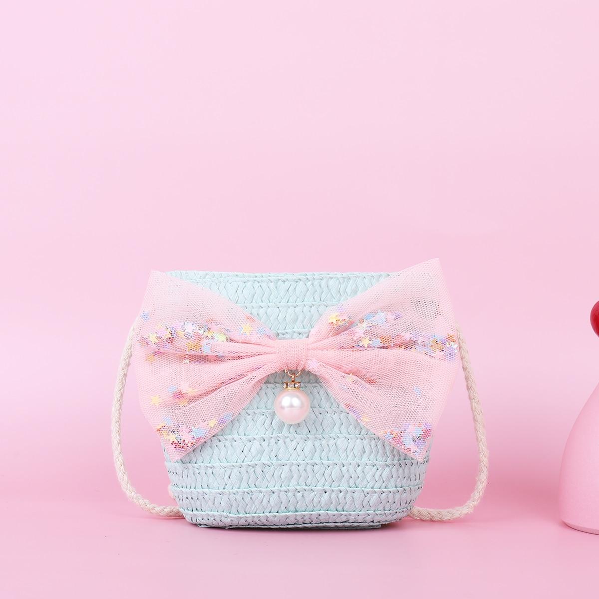 Соломенная сумка с бантом для девочек SheIn skbag18210528344