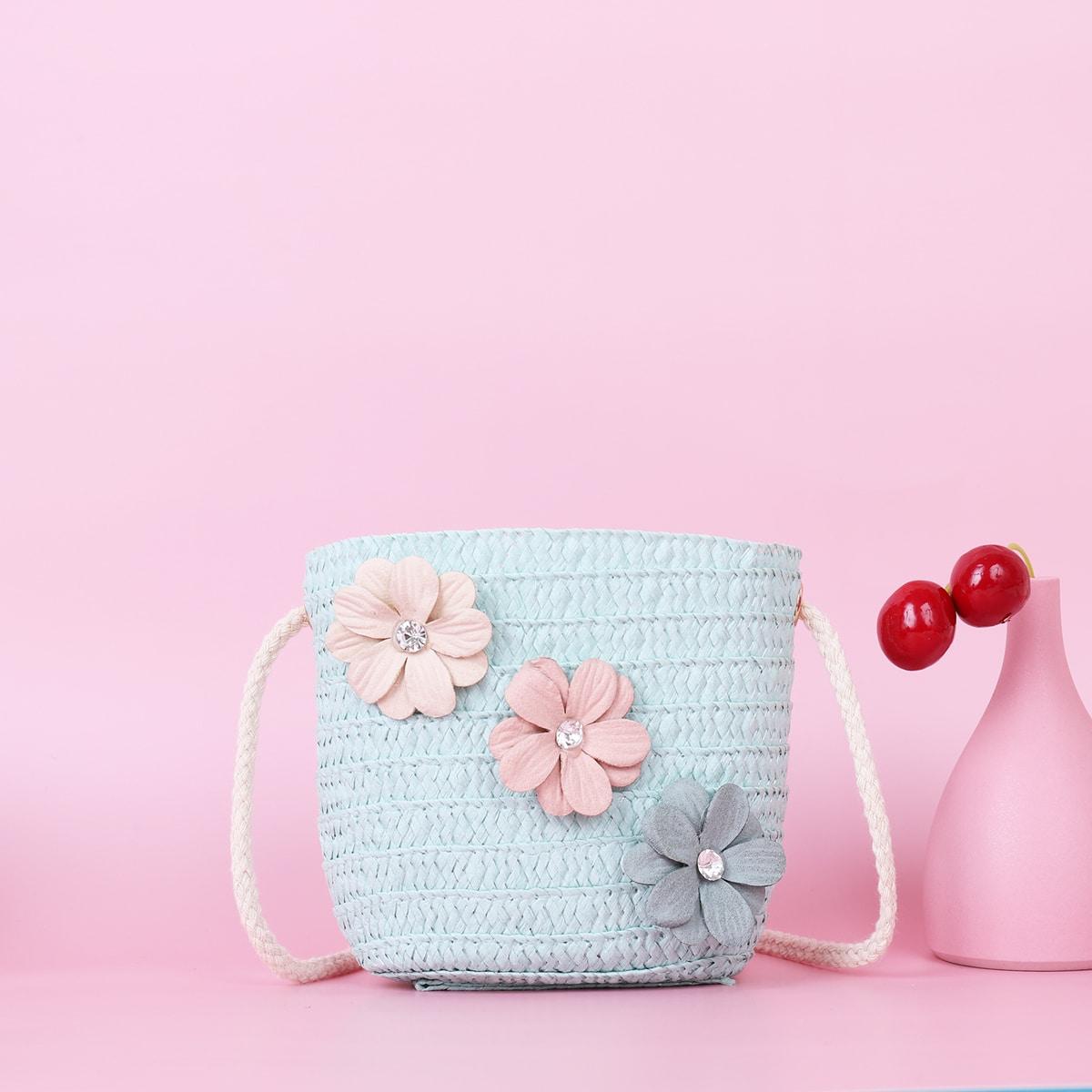 Соломенная сумка с цветком для девочек SheIn skbag18210528073