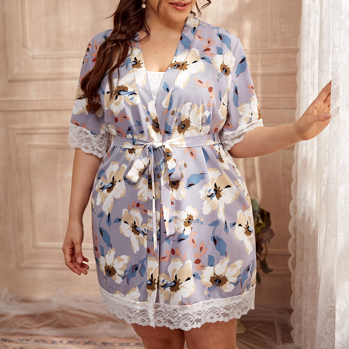 Plus Floral Contrast Lace Belted Robe