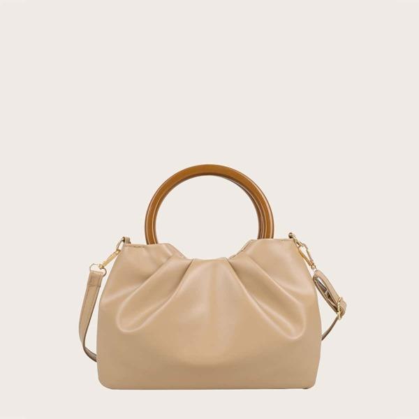 Girls Minimalist Ruched Bag, Khaki