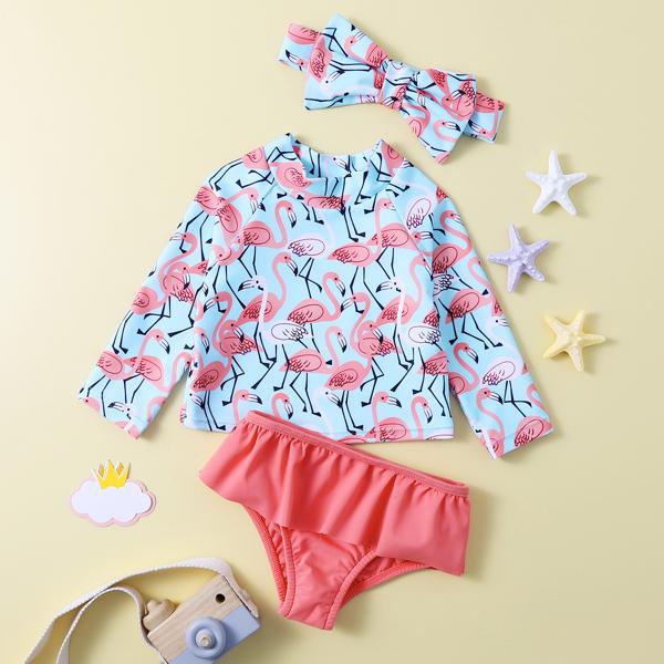 Baby Girl Flamingo Print Ruffle Bikini Swimsuit & Headband, Multicolor