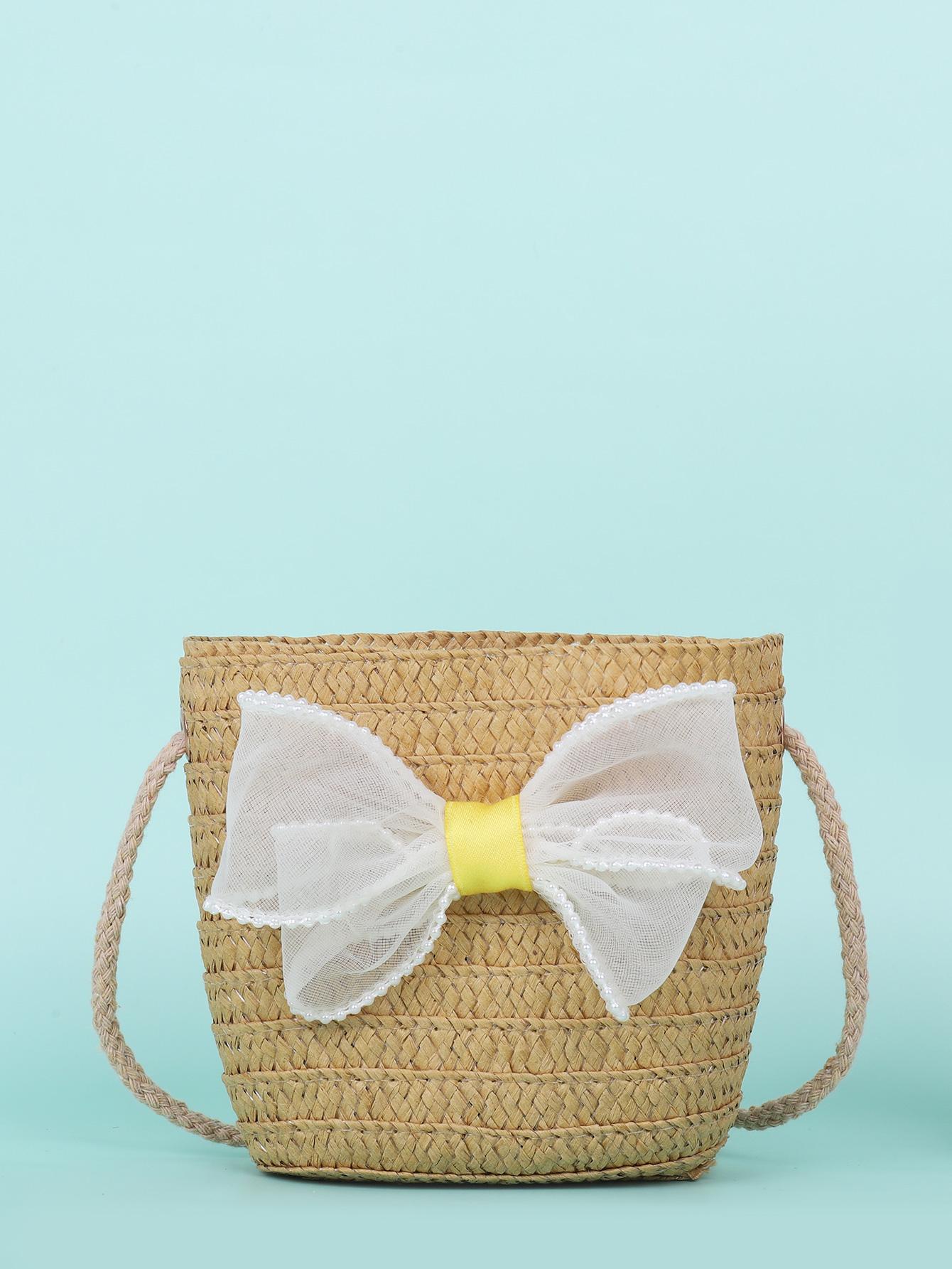 girls bow decor straw crossbody bag