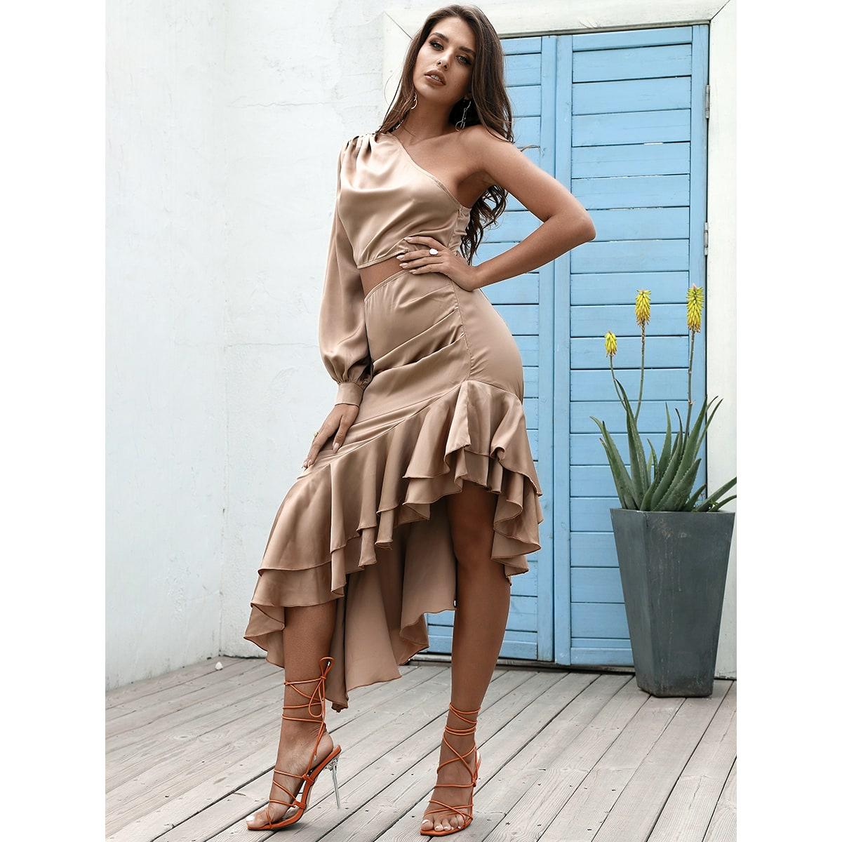 Платье на одно плечо с разрезом с оборками асимметричный SheIn swdress31210529240