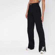 High-Waisted Slant Pocket Split Hem Vintage Straight Jeans