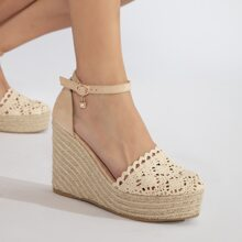 Buckled Ankle Strap Closed Toe Wedges