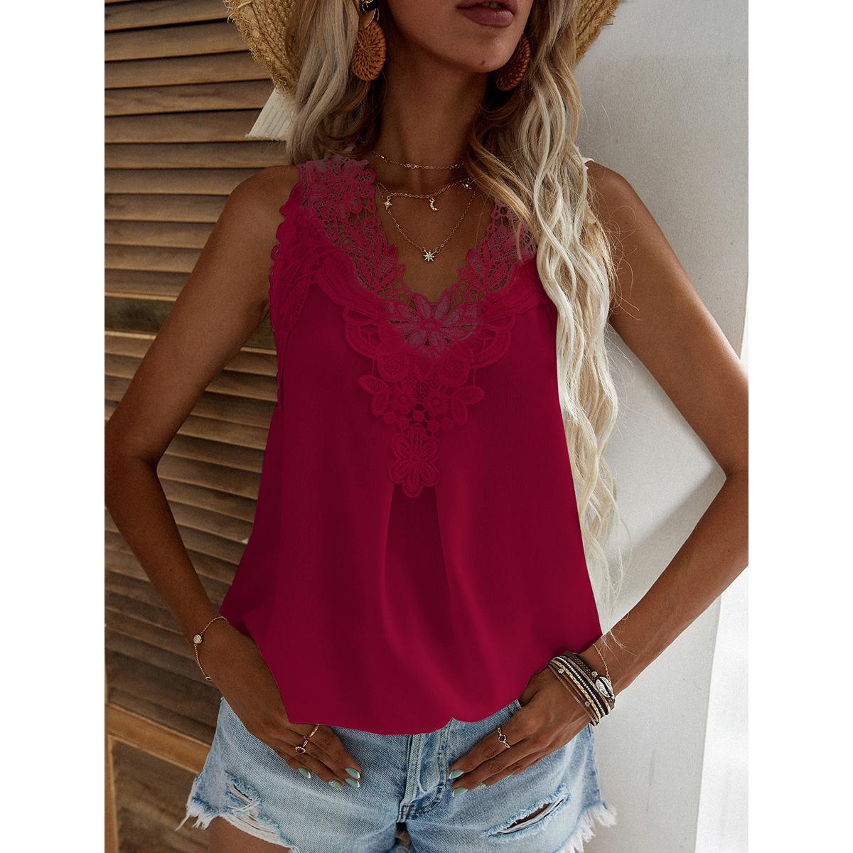 Однотонная блуза с кружевом SheIn swblouse23210519485