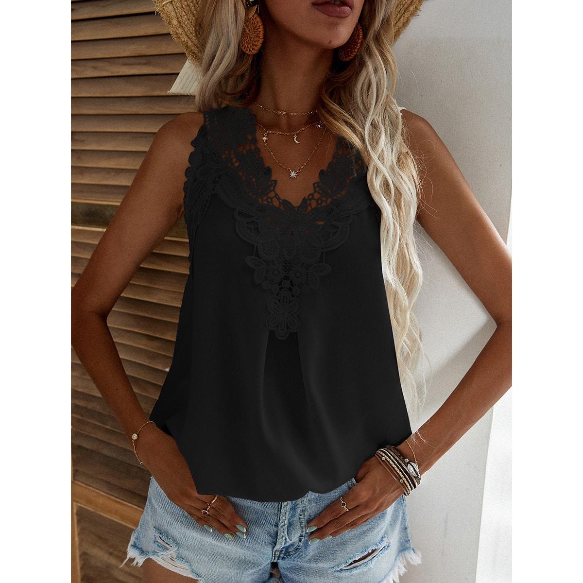 Однотонная блуза с кружевом SheIn swblouse23210519574