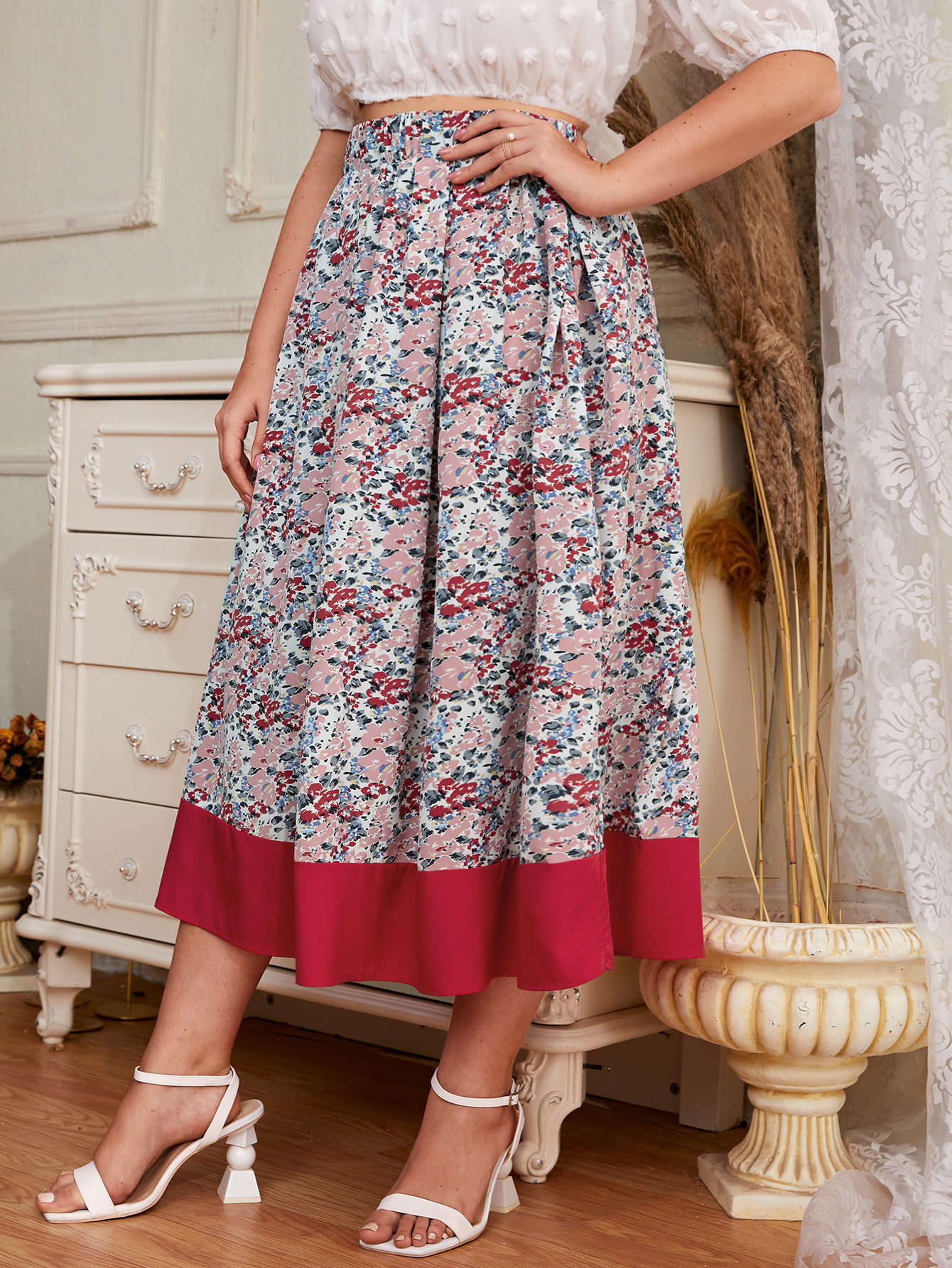 Plus Floral Print High Waisted Flared Skirt