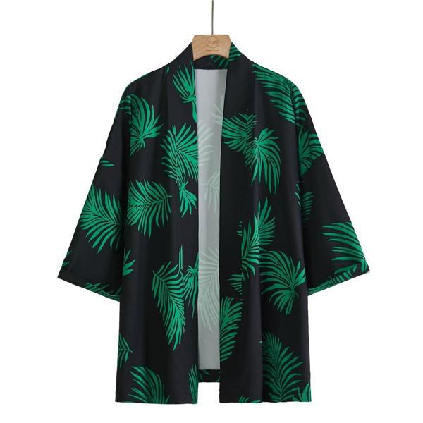 Men Drop Shoulder Tropical Print Kimono, Multicolor
